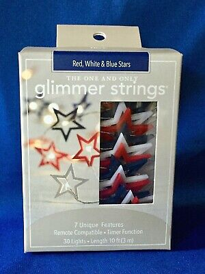 NEW Pier 1 4th of July Red/White/Blue 30 STAR LED LIGHTS/10' Glimmer Strings MIB