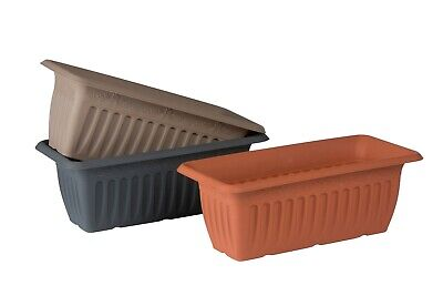Set of 2 Plastic 43cm Troughs Planters Window Box Balcony Plant Pot Flower Pot