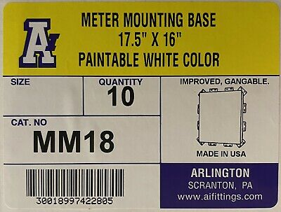 "Set W 5 PcArlington MM18 Plastic Meter Mounting Base 15.8"" W x 1.1"" D x 17.6"" H"
