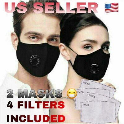 2x Red Wine Mask Cotton Face Reusable with Valve + 4x PM2.5 filters US SELLER