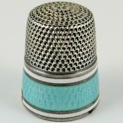 Antique Simons Brothers Size 11 Blue Guilloche Enamel Sterling Silver Thimble