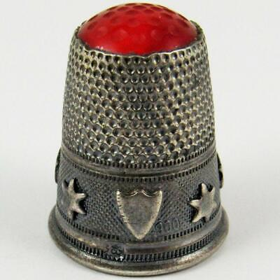 Antique Russian Shield & Stars Heraldic Continental 900 Silver Sewing Thimble