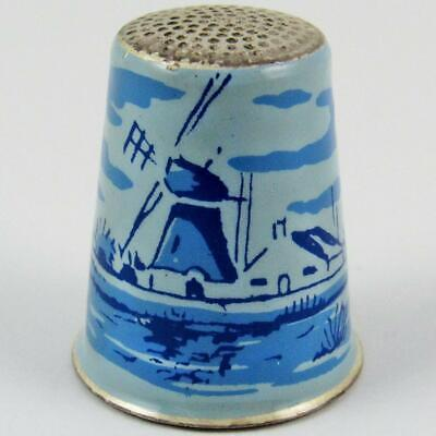 Vintage Dutch Windmill Scenic Holland Enamel Sterling Silver Sewing Thimble