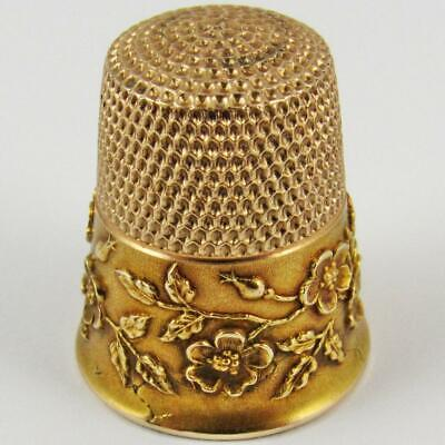Antique Ketcham & Mcdougall Size 8 Wild Rose Pattern 10K Gold Sewing Thimble