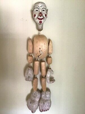 Vtg Hand Carved Solid Wood Marionette Puppet Primitive
