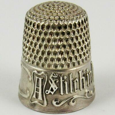 """Antique Simons Brothers """"Stitch In Time"""" Size 7 Sterling Silver Sewing Thimble"""