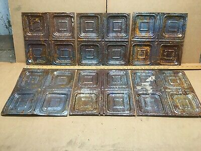 """6pc Lot of 11.5"""" x 11.5"""" Antique Ceiling Tin Vintage Reclaimed Salvage Art Craft"""