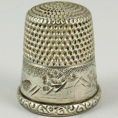Antique Simons Brothers Scenic Landscape Size 12 Sterling Silver Sewing Thimble