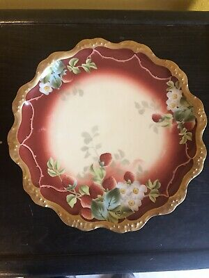 Strawberry Limoge Plate With Gold Detail