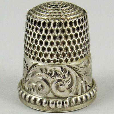 Antique Simons Brothers Engraved Scroll Beaded Size 7 Sterling Silver Thimble