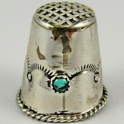 Vintage Zuni Native American Old Pawn Turquoise Cabochon Sterling Silver Thimble