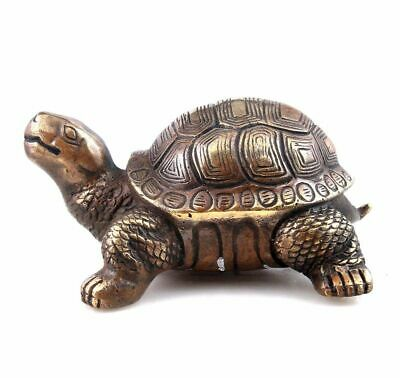 Vintage Brass Crafted Sculpture Turtle Tortoise Looking Up Long-Life #03062001