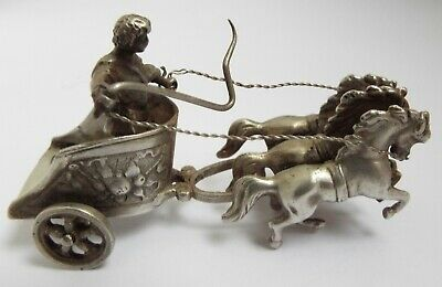 Lovely Novelty Miniature English Antique 1902 Cast Solid Silver Roman Chariot