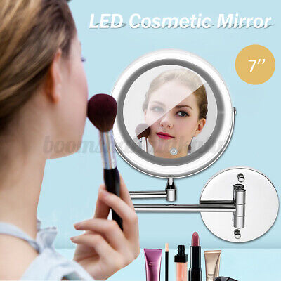 10X Magnifying Stand Mirror Double Side Makeup LED Lights Touch Wall-mount