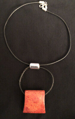 SILPADA Sterling Silver 925 Leather Cord Necklace Orange Stone Adjustable