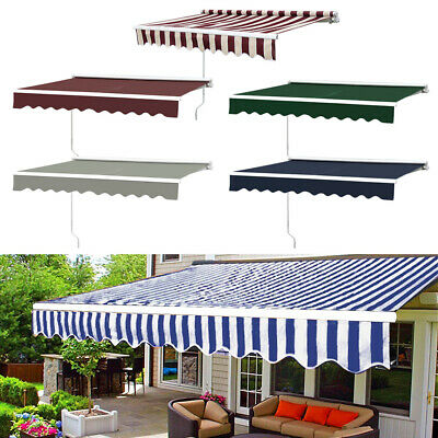 Manual Awning Garden Sun Shade Shelter Retractable Canopy Patio 5 Size 8 Colours