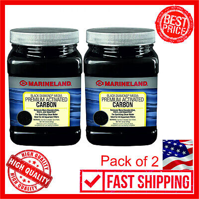 2 Pack Marineland Black Diamond Media Premium Activated Carbon Aquarium 10 Oz