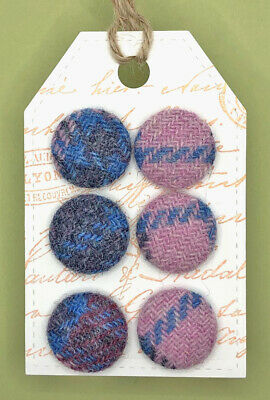 15mm Red Twill Harris Tweed Covered Buttons