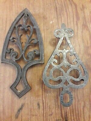 2 metal Trivets For Flat Irons. Decorative Pieces.