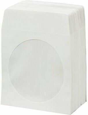 100 CD DVD White Paper Sleeve with Clear Window and Flap Envelopes 100g