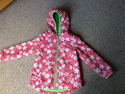 excellent cond girls fleece lined hooded summer coat pink green floral 6-7 yrs