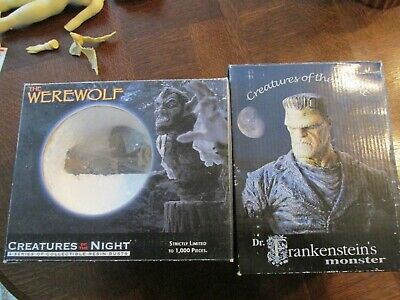Creatures of the Night Werewolf and Dr. Frankensteins Monster Resin Bust Lot