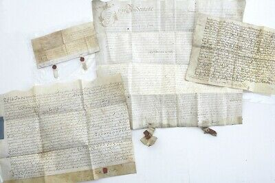 Late 17th Century 4x Indenture/ legal documents on vellum parchment