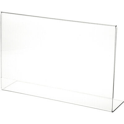 "Plymor Clear Acrylic Sign Display / Literature Holder (Angled), 11"" W x 7"" H"