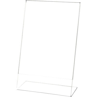 "Plymor Clear Acrylic Sign Display / Literature Holder (Angled), 7"" W x 11"" H"