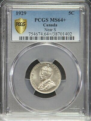 1929 Canada Canadian Five Cent Nickel PCGS MS64 MS64+ MS 64 + Near S
