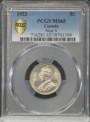 1922 Canada Canadian Five Cent Nickel PCGS MS65 MS 65 Near S