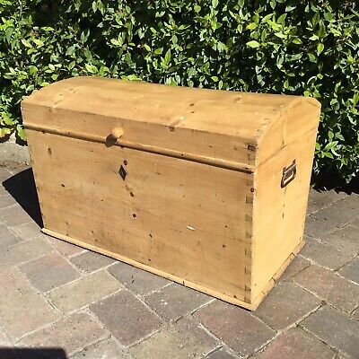 Antique Pine Chest Blanket Box Domed Top