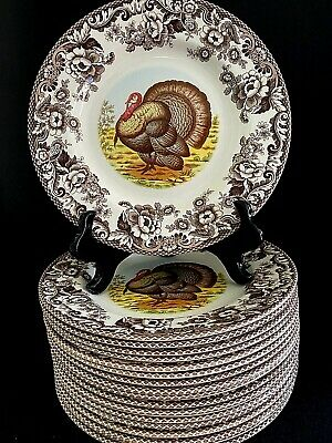 RARE NEW Spode Woodland Turkey Dinner Plate Thanksgiving England 10.75""