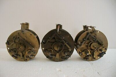 3 Old  French Clock Movements for spares/repairs