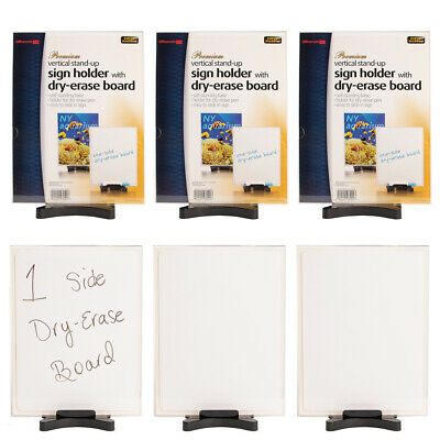"6pk Acrylic Sign Holder 8.5 x 11"" Office Desk Display Stand With Dry Erase Board"