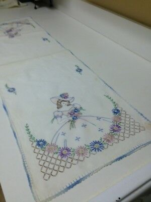 """Hand Embroidered Table or Dresser Runner 41 ½"""" by 12 ½""""  Just Laundered"""