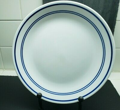 "Corelle Vitrelle ""Classic Cafe"" White 3 Blue Bands10 1/4"" Dinner Plate(s)"