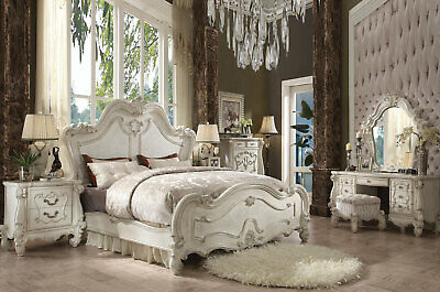 NEW Traditional Antique White Bedroom Furniture - 6pcs King Mansion Bed Set IAA4