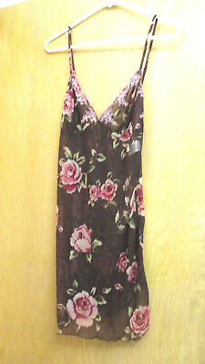 AVON   -  Brown Floral  -  Chemise  -   Small   -  NEW