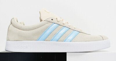 NIB ADIDAS Women's VL Court 2 Beige Sky-Blue Suede Low Top Tennis Shoes Sneakers