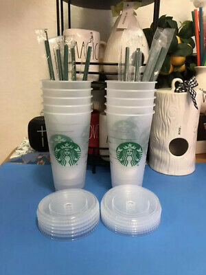 10 STARBUCKS Reusable Venti 24 OZ Frosted Ice Cold Drink Cup With Lid & Straws