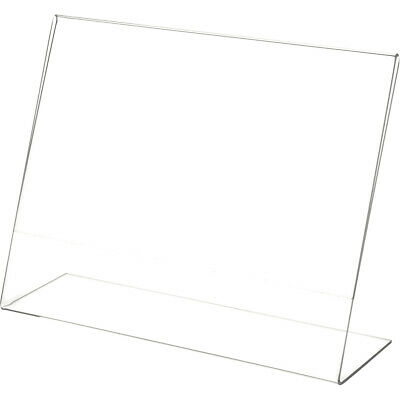 "Plymor Clear Acrylic Sign Display / Literature Holder (Angled), 11"" W x 8.5"" H"