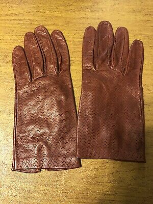 JB Guanti brown tan leather gloves Made in Italy Size M/L