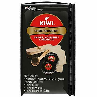 Shoe Care Kit Black Leather Shoes Shine Polishing Set KIWI with Travel Bag Case.