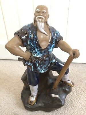 Chinese Mud Man Glaze Ceramic Figurine Ornament Proud Axe Worker Asian Statue