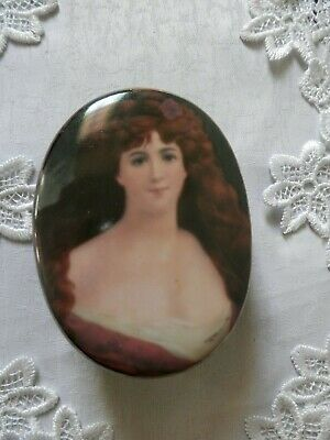 Old Porcelain Trinket Box Hand Painted Flowers And Asti Portrait Unusual.