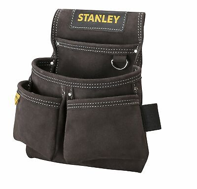 STANLEY STST1-80116 Leather Double Nail Pocket Pouch - Black