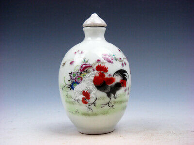 Famille-Rose Glazed Porcelain Snuff Bottle Big Tail Roosters & Flowers #05172005