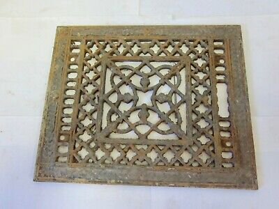 "Antique Register Cast Iron Floor Grate 8 x 10 Opening 9 3/4 x 11 3/4"" Outside"
