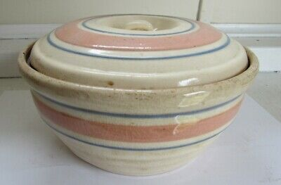 Yellow ware pink & blue Band Lidded Bowl - C - 1930